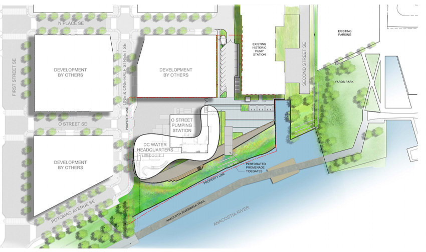 More Renderings for Proposed DC Water Headquarters JDLand – Site Plan Renderings