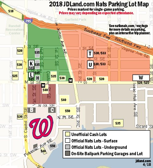 Nationals Park Map Parking Lots Near Nationals Park   JDLand.com Nationals Park Map